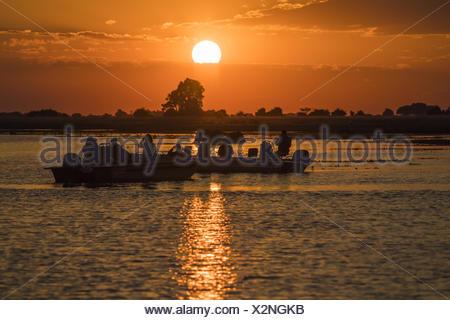 Safari boat at Sunset on Chobe