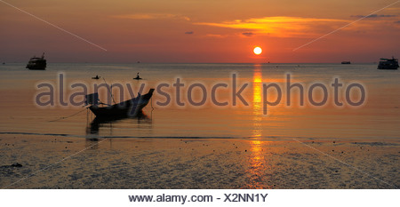 Boats, sunset, Sai Ree, Beach, Koh Tao, Thailand, Asia, sea, water - Stock Photo