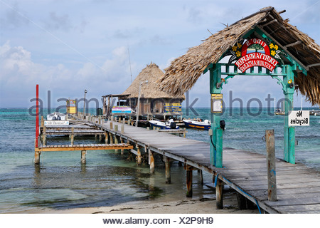 Restaurant at the end of a pier in the ocean of San Pedro, Ambergris Cay Island, Belize, Central America, Caribbean - Stock Photo