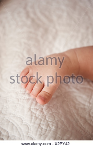 Babys toe on blanket - Stock Photo