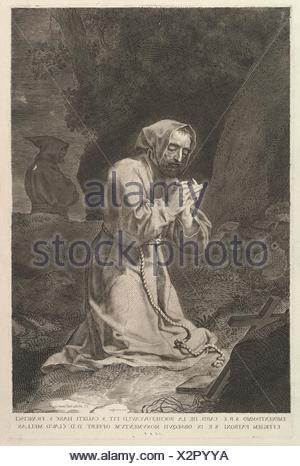 St. Francis of Assisi. Artist: Claude Mellan (French, Abbeville 1598-1688 Paris); Dedicatee: Dedicated to François de La Rochefoucauld (1558-1645); - Stock Photo