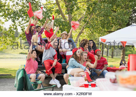Friends cheering at tailgate barbecue in field - Stock Photo