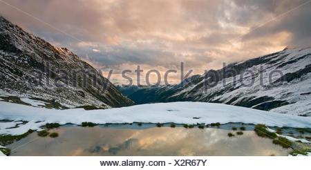 View of the Wildgerlostal valley, Zillertal valley, Tyrol, Austria, Europe - Stock Photo