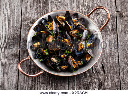 Boiled mussels in copper cooking dish on dark wooden background - Stock Photo