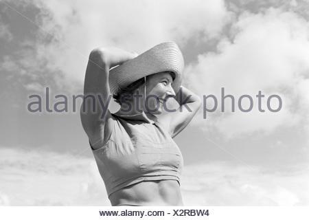 Die berühmte Tänzerin Gret Palucca während Ihrem Sommerurlaub auf Sylt, Deutsches Reich 1930er Jahre. The popular dancer Gret Palucca on vacation on Sylt, Germany 1930s. - Stock Photo