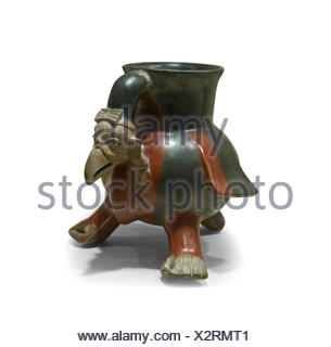 Aztec ceramic vulture shaped vessel dates to 14th to early 16th century from Mexico - Stock Photo