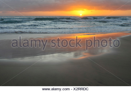 Sunset at the Atlantic Ocean, Fuerteventura, Canary Islands, Spain, Europe - Stock Photo