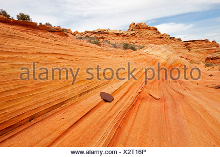 Colorful rock formations in the Coyote Buttes South, Paria Canyon-Vermilion Cliffs Wilderness, Utah, Arizona, America - Stock Photo