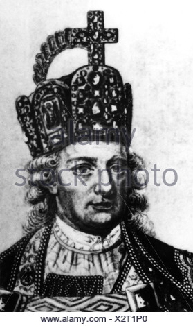 Leopold II, 5.5.1747 - 1.3.1792, Holy Roman emperor since 30.9.1790, portrait with crown imperial, as Peter Leopold Grand Duke of the Tuscany 18.8.1765 - 20.7.1790, contemporary copper engraving, crop, Artist's Copyright has not to be cleared - Stock Photo