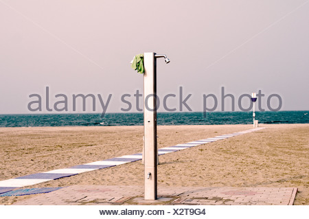 Shower on the sandy beach of Lido di Venezia, Italy, Europe - Stock Photo