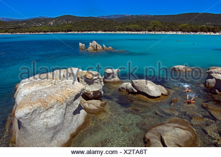 bay of Santa Giulia near Porto Vecchio, France, Corse-du-Sud, Chiappa-Halbinsel - Stock Photo