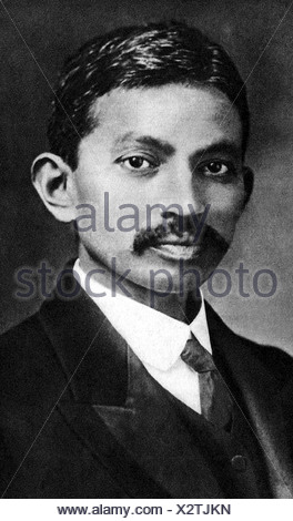 Gandhi, Mohandas Karamchand called Mahatma, 2.10.1869 - 30.1.1948, Indian politician, portrait, as young man, , Additional-Rights-Clearances-NA - Stock Photo