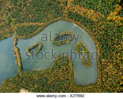 Aerial view, islands in lake Kirchheller Heidesee, in autumn, Kirchhellen, Bottrop, Ruhr area, North Rhine-Westphalia - Stock Photo