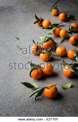 Fresh tangerines with green leaves on grey background - Stock Photo
