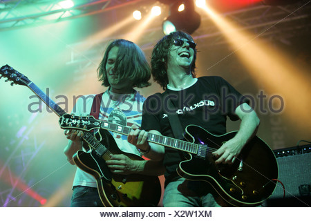 Volker Hinkel and Gabriel Holz, guitarists of the German pop group Fool's Garden, performing live at Openquer in Zell, Lucerne, - Stock Photo