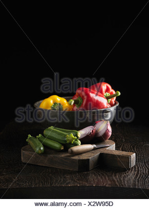 Cucumbers, onion and bell peppers