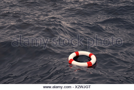 Lifebelt in the ocean - Stock Photo