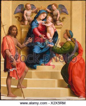 Madonna and Child Enthroned with Saints Mary Magdalen and John the Baptist. Artist: Giuliano di Piero di Simone Bugiardini (Italian, Florence