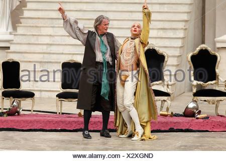 Jedermann, Everyman, 2009, played by Peter Simonischek with Gabriel Raab as Mammon, play by Hugo von Hofmannsthal, Salzburg Fes - Stock Photo