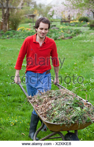 man pushing wheelbarrow - Stock Photo