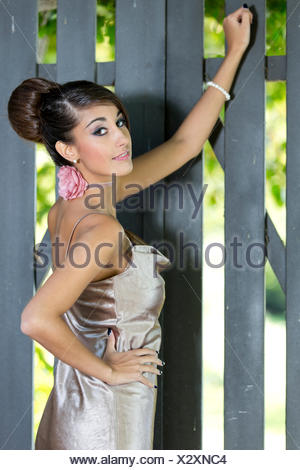 Young woman with an updo hairstyle and a silvery evening dress posing in front of a grey wooden gate - Stock Photo