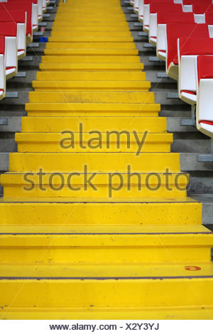 Steps between the stands at the stadium - Stock Photo