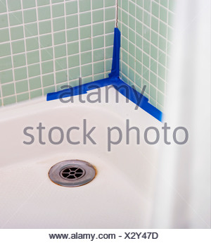 Leaking shower with bad DIY - Stock Photo