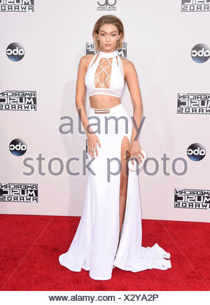Model Gigi Hadid arrives at the 2015 American Music Awards at Microsoft Theater on November 22, 2015 in Los Angeles, California., - Stock Photo