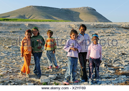 Children on the mountain Jebel Arruda at the Asad reservoir of the Euphrates, Syria, Asia - Stock Photo