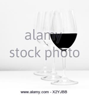 Wine Served On Table Against White Background - Stock Photo