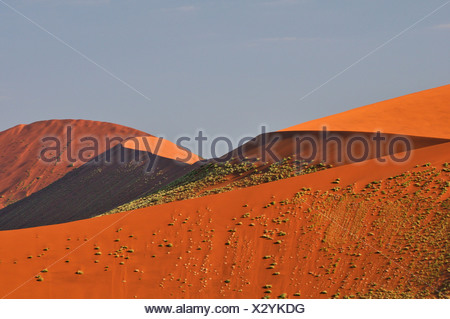 Africa, Dunes, Hills, Namib, Naukluft, Park, Namibia, Sossusvlei, desert, horizontal, pyramid, red, sand, - Stock Photo