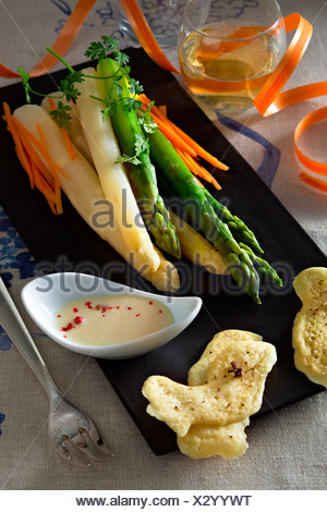 Light Camenbert Cream Sauce, Asparagus and Clove Biscuit - Stock Photo