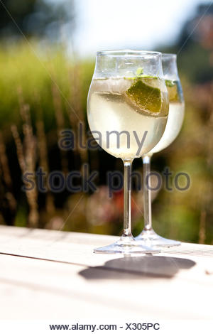hugo appetizer prosecco ice mint elderflower juice - Stock Photo