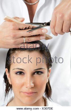 woman cut hairdresser - Stock Photo