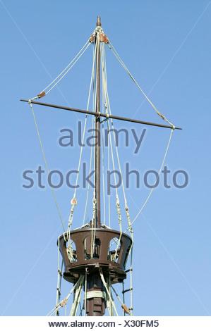 Full size replicas Christopher Columbus' ships Santa Maria Pinta or Niña Muelle de las Carabelas Palos de la Frontera - La - Stock Photo