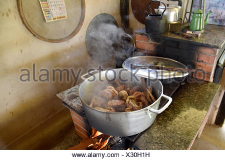 Rustic chicken being prepared on a wood stove in the countryside, Guaxupe, Minas Gerais, Brazil, 04.2017 - Stock Photo
