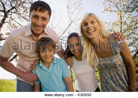 Germany, Baden Württemberg, Tübingen, Family portrait, smiling, close-up - Stock Photo