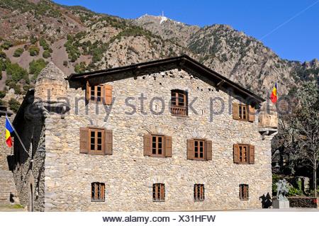 Casa de la Vall, the seat of the Parliament of Andorra, the smallest European Parliament, Barri Antic, Andorra La Vella, Andorra - Stock Photo