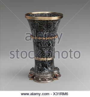 Beaker with Apes. Date: ca. 1425-50; Geography: Made in probably the Burgundian territories; Culture: South Netherlandish; Medium: Silver, silver - Stock Photo