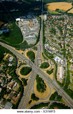 A43 and A40 highway junction, Ruhr-Park Bochum shopping centre, aerial view, RUHR.2010 Action Still-life on the A 40, Bochum - Stock Photo