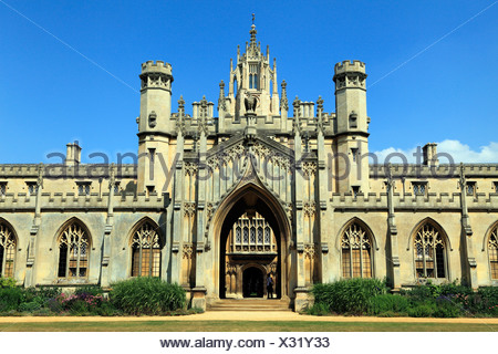 St. Johns College, Cambridge, England UK, English university universities colleges - Stock Photo