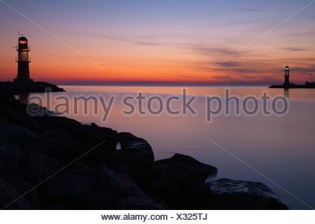Lighthouses of Warnemünde - Stock Photo