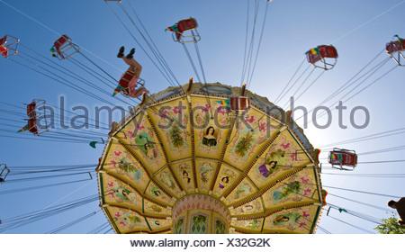 Chain carousel, traditional Waeldchestag, Frankfurt, Hesse - Stock Photo