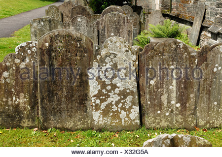 Headstones dating from 19th century in the churchyard of St Eustace Church, Tavistock, Devon, England, United Kingdom, Europe - Stock Photo