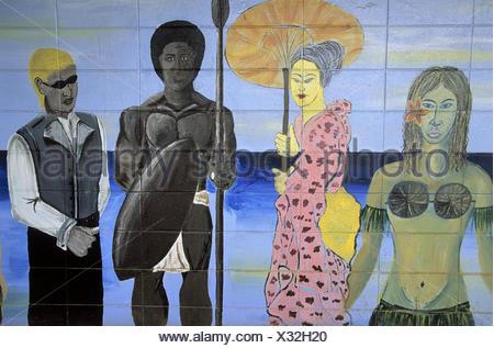 Fidschi Inseln, Viti Levu, Suva,  Mauer, bemalt, Personen,  Nationalitäten, verschieden Südsee, Insel, Wand, Malerei, Handwerk, Kunst, malen, 'Fijian handicraft Center', Kultur - Stock Photo