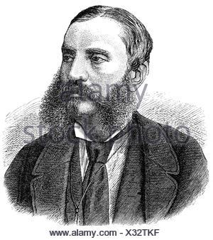 Dingelstedt, Franz Freiherr von, 30.6.1814 - 15.5.1881, German author / writer, theatre manager, portrait, wood engraving, - Stock Photo
