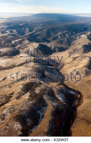 Aerial view of the South Platte river flowing through the mountains. - Stock Photo