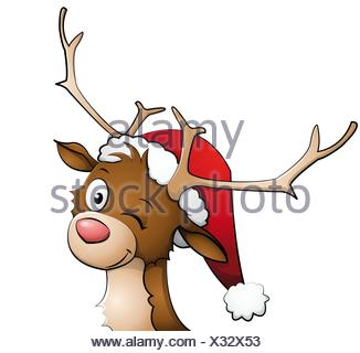 Reindeer with christmas hat on - Stock Photo