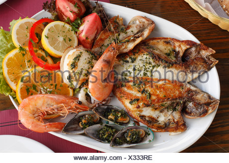 Mixed fish platter, La Palma, Canary Islands, Spain - Stock Photo