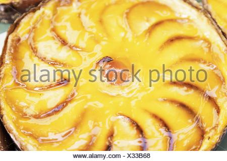 Handmade apple pie, detail of a homemade dessert, baked sweet and healthy food. - Stock Photo